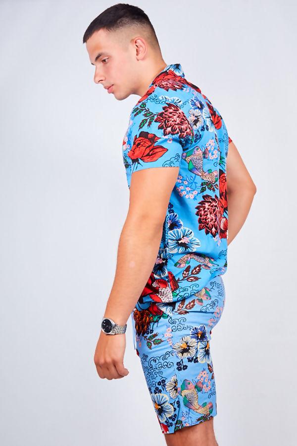 Blue Flower Print Shirt and Swim Short Set