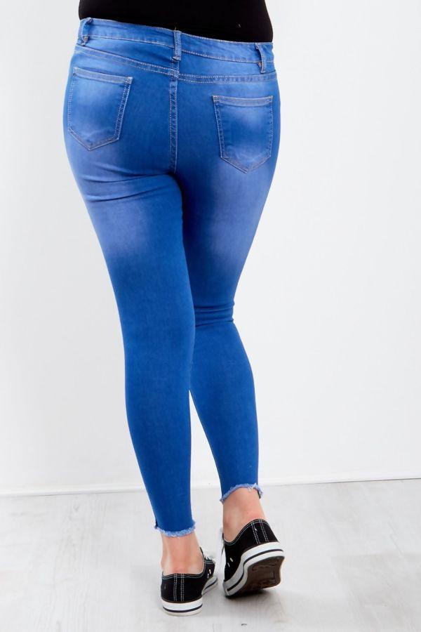 Blue Frayed Hem Leopard Patchwork Jeans