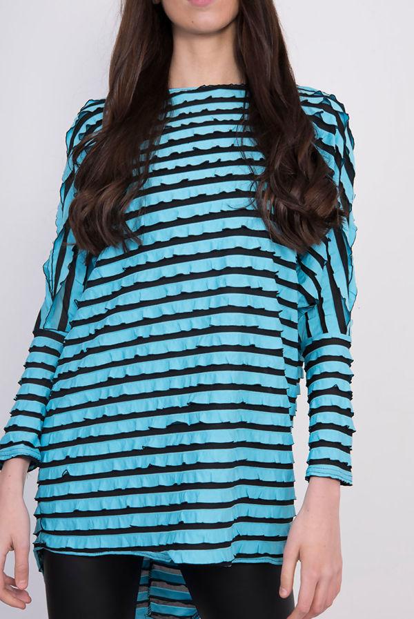 Blue Frill Striped Dip Hem Batwing Top