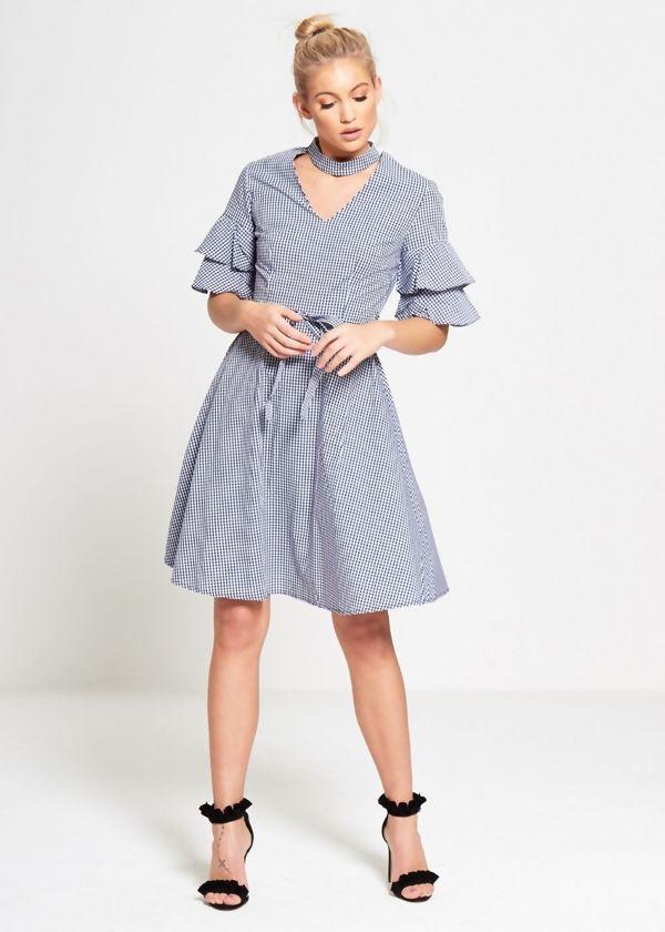 Blue Gingham Check Choker Neck Dress