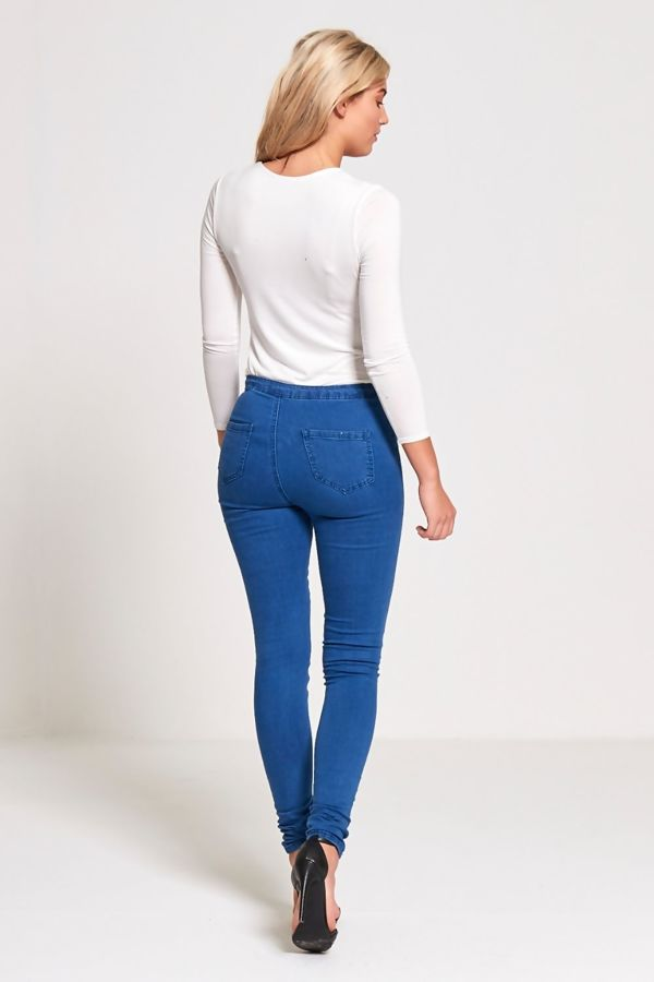 Blue High Waisted Cut Detail Skinny Jeans