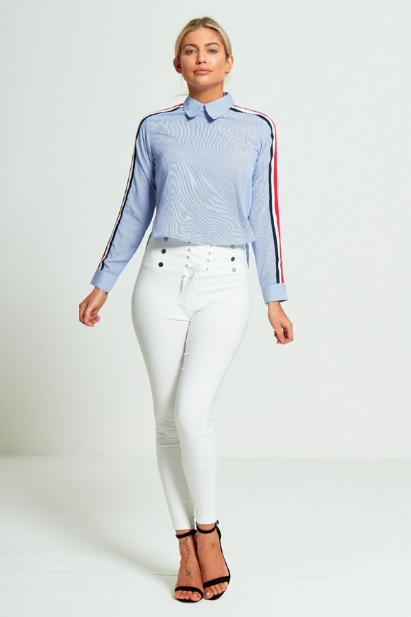 Blue Long Sleeves Dip Hem Striped Shirt