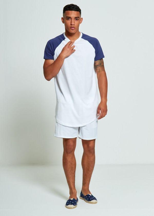 Blue Longline Raglan Half Sleeve T-Shirt
