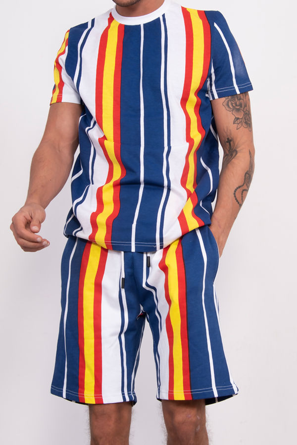Blue Multi Stripe T-Shirt And Short Set