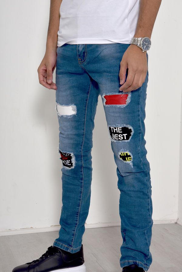Blue Patched Distressed Frayed Jeans