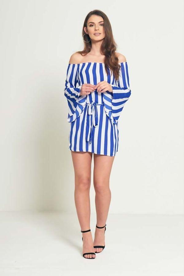 Blue Pin Striped Off Shoulder Belted Dress