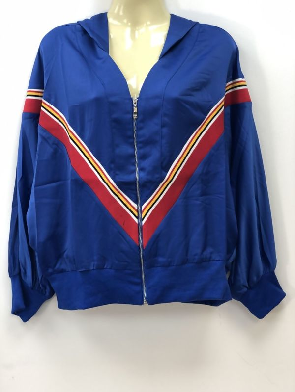 Blue Poncho Sleeve Hooded Jacket