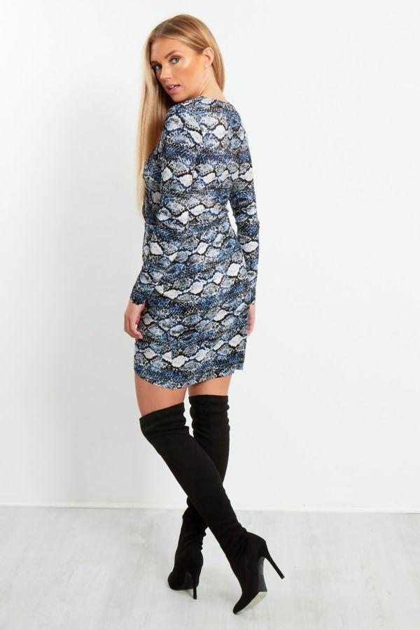 Blue Snake Print Cross Over Dress