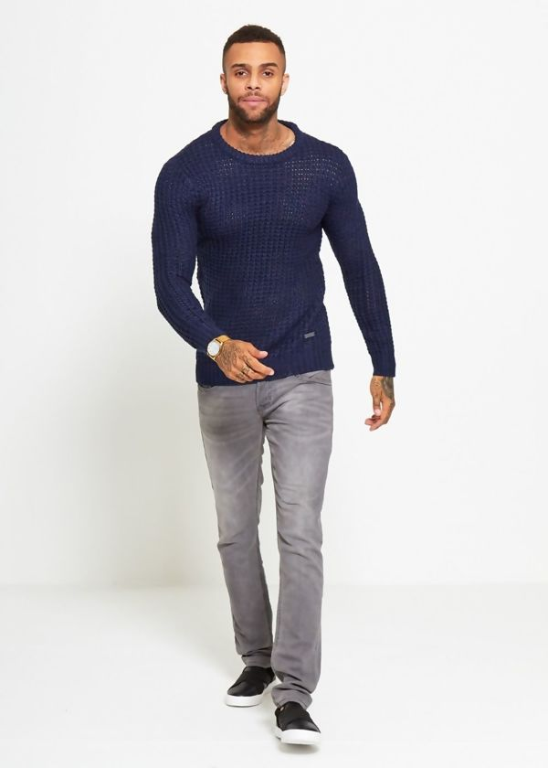 Blue Thick Fish Knit Jumper