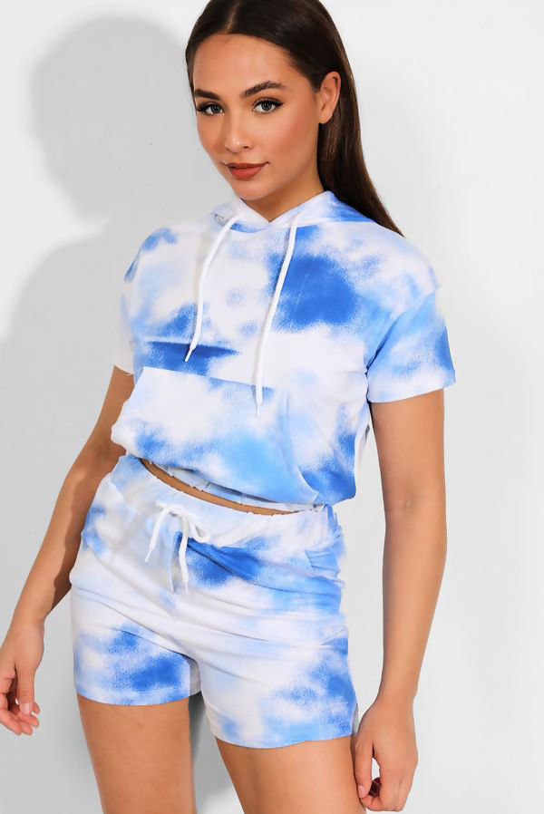 Blue Tie Dye Hooded Top And Shorts Set