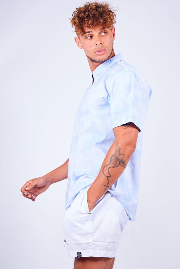 Blue Tie Dye Print Shirt and Swim Short Set