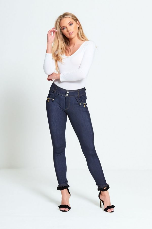 Blue Two Button Skinny Jegging Jeans