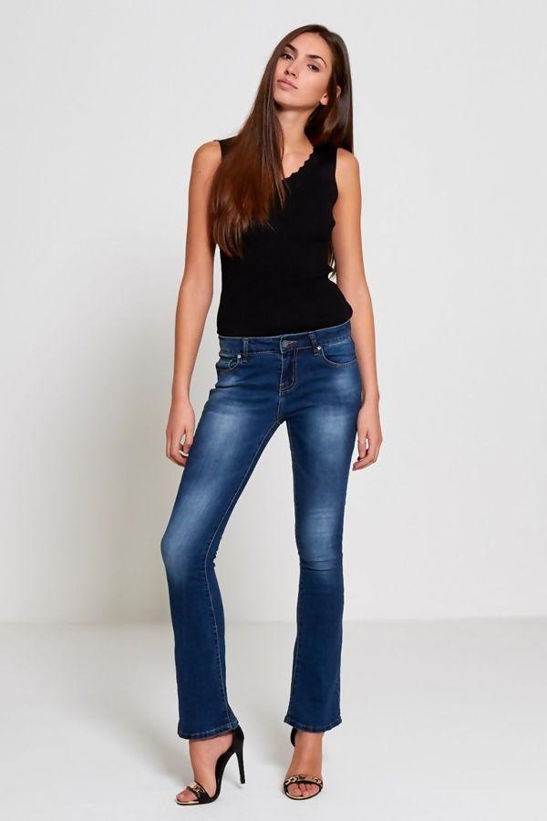Blue Washed Denim Flare Hem Jeans