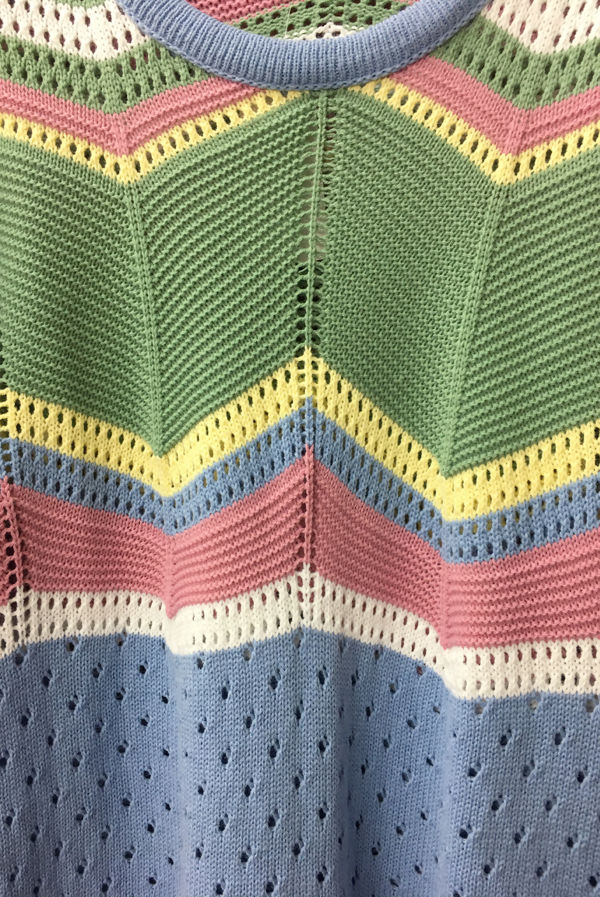 Blue Zigzag Knitted Top