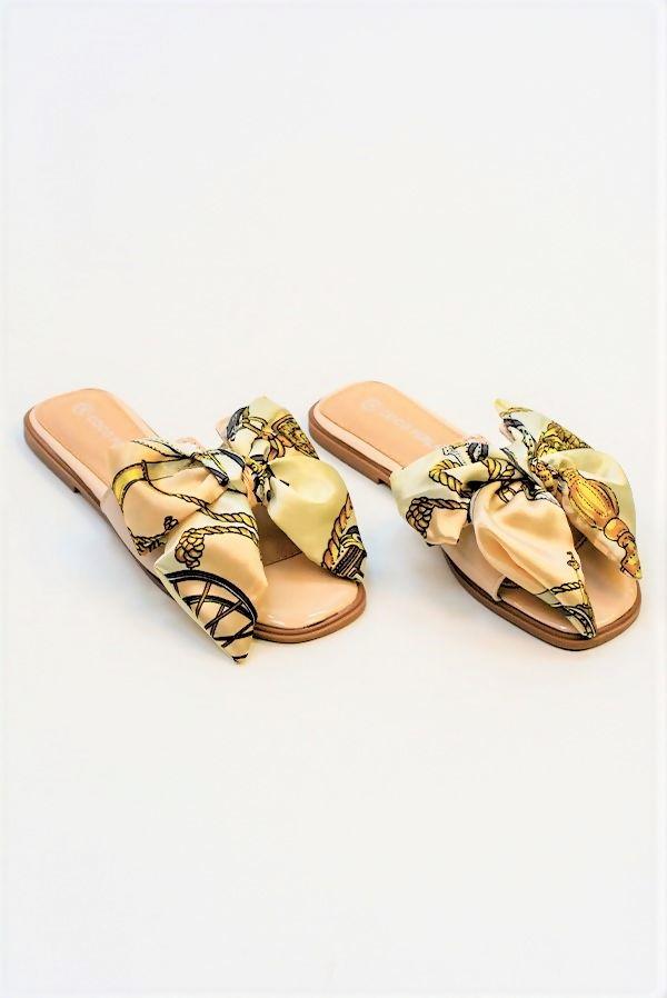 Blush Chain Print Bow Sandal