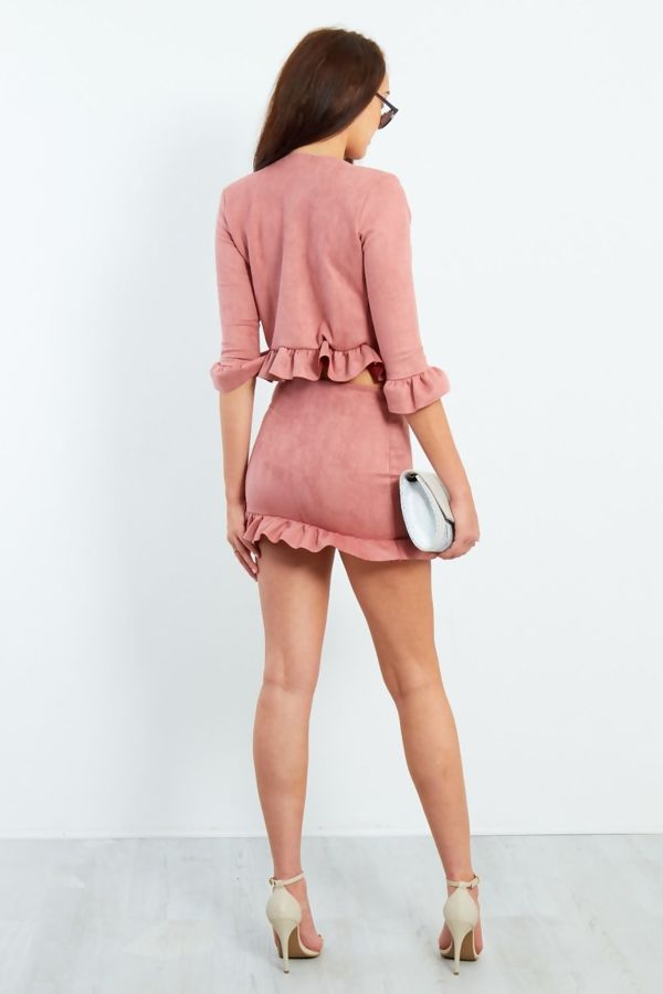 Blush Faux Suede Frill Hem Jacket And Mini Skirt Co-ord