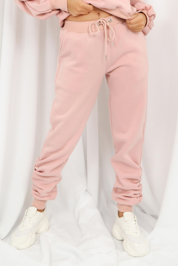 Blush Fleece Lined Ruched Ankle Joggers