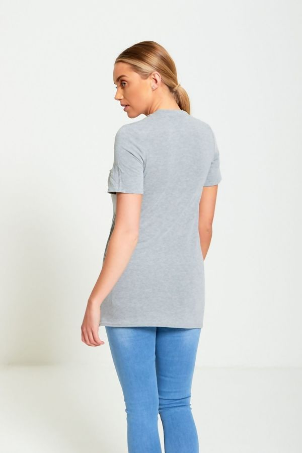 Bonjour Love Longline Grey T-Shirt