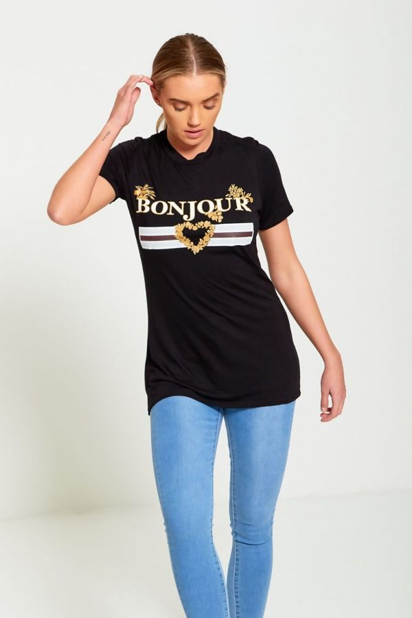 Bonjour Love Longline Red T-Shirt