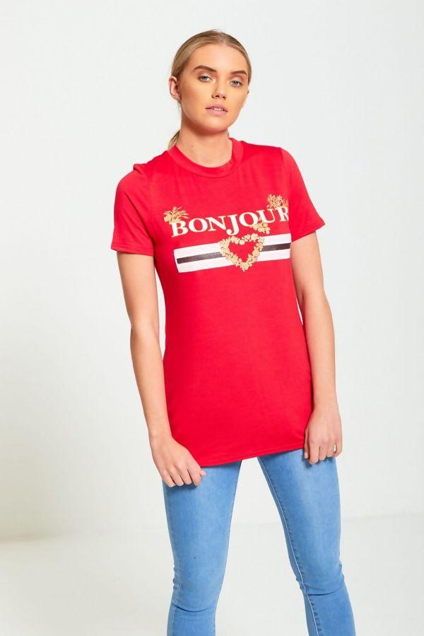 Bonjour Love Longline Royal T-Shirt