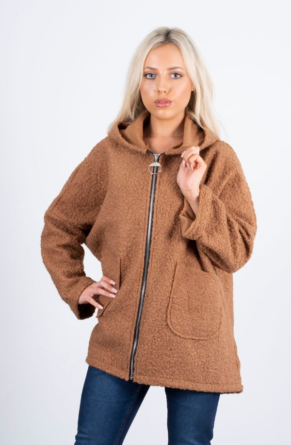 Borg Dolman Sleeve Teddy Coat