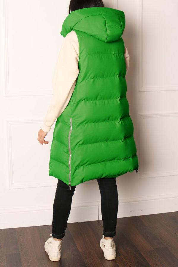 Bottle Green Longline Hooded Puffer Gilet