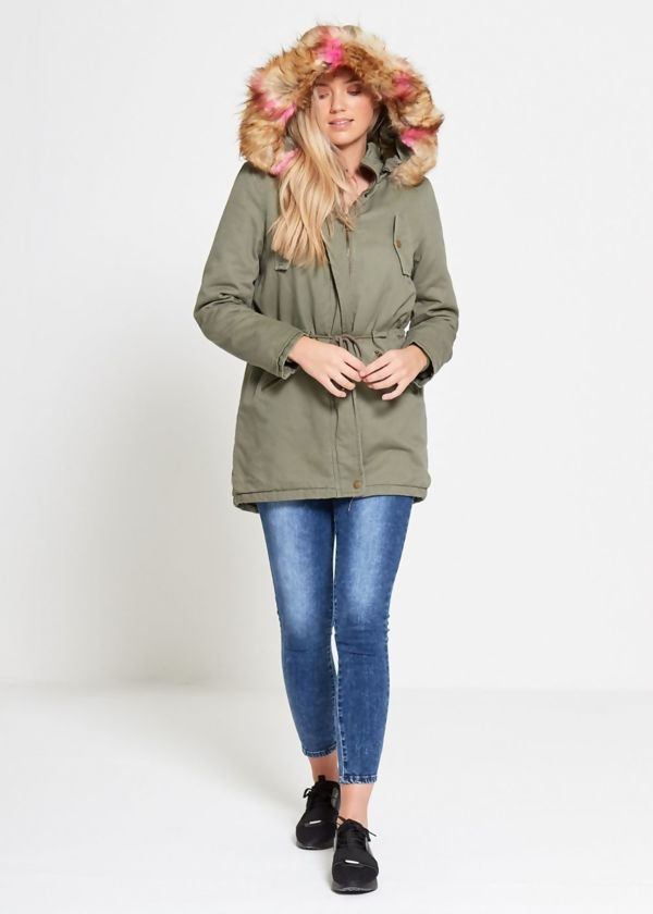 Brave Soul Light Multi Fur Lined Hood Parka
