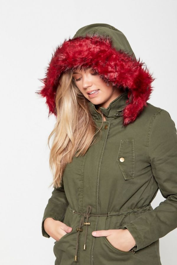 Brave Soul Wine Lined Fur Hooded Parka