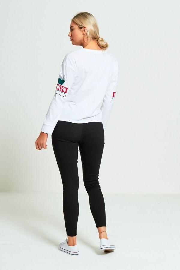 Brooklyn Printed White Full Sleeve T-Shirt