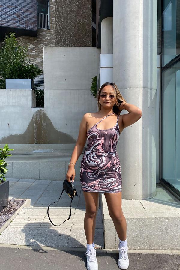 Brown Abstract Print Slinky Asymmetric Strap Bodycon Dress