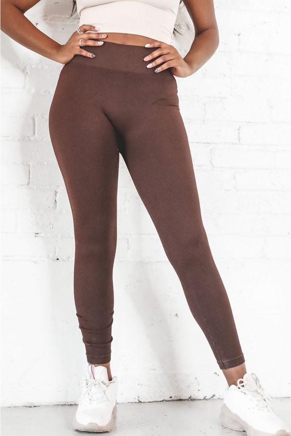 Brown Basic Seamless Leggings