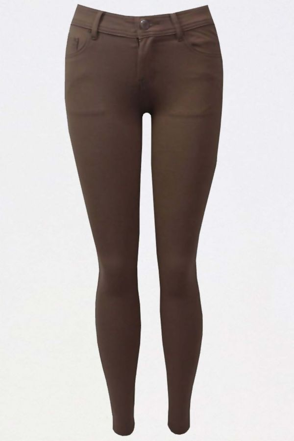 Brown Colored Stretch Slim Fit Skinny Jeans