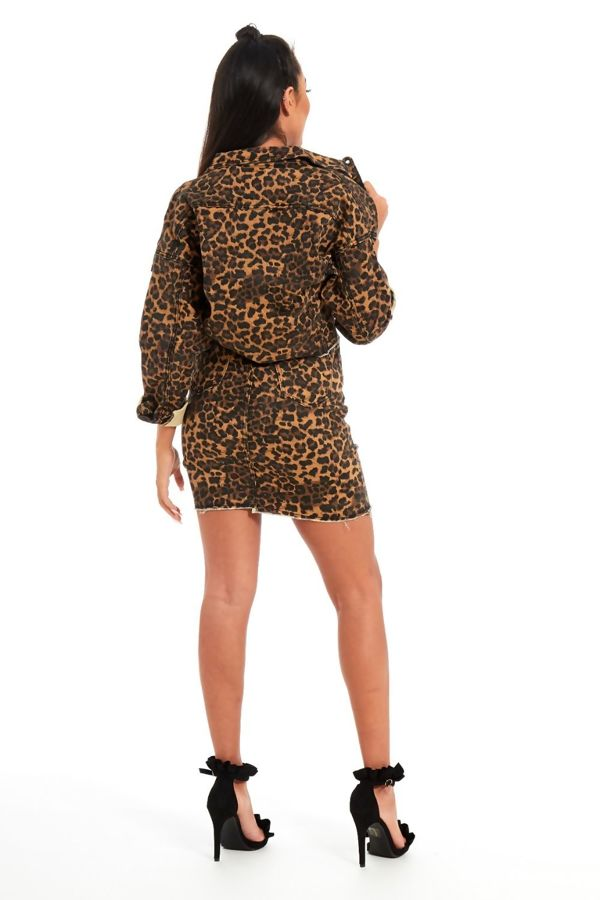 Brown Leopard Print Crop Denim Jacket