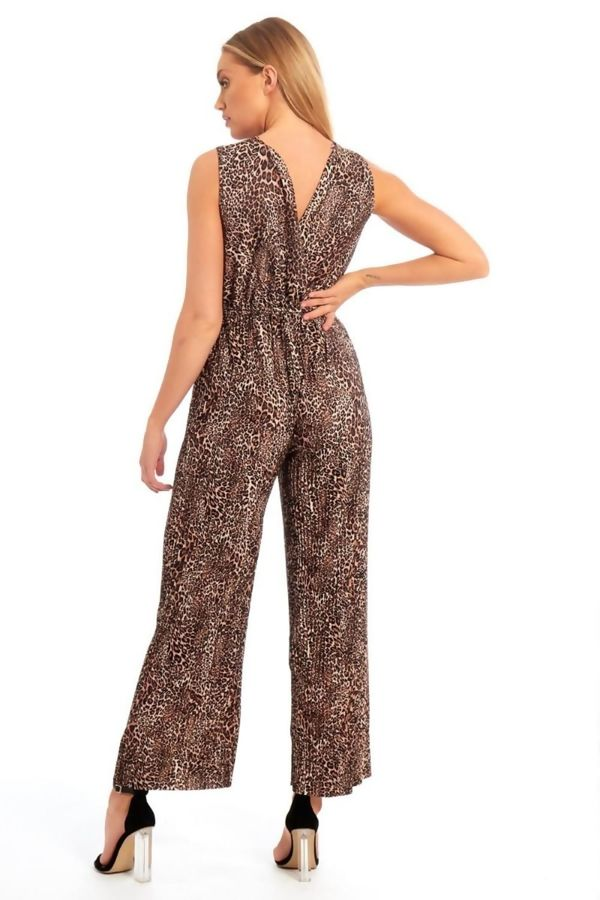 Brown Leopard Print Jumpsuit