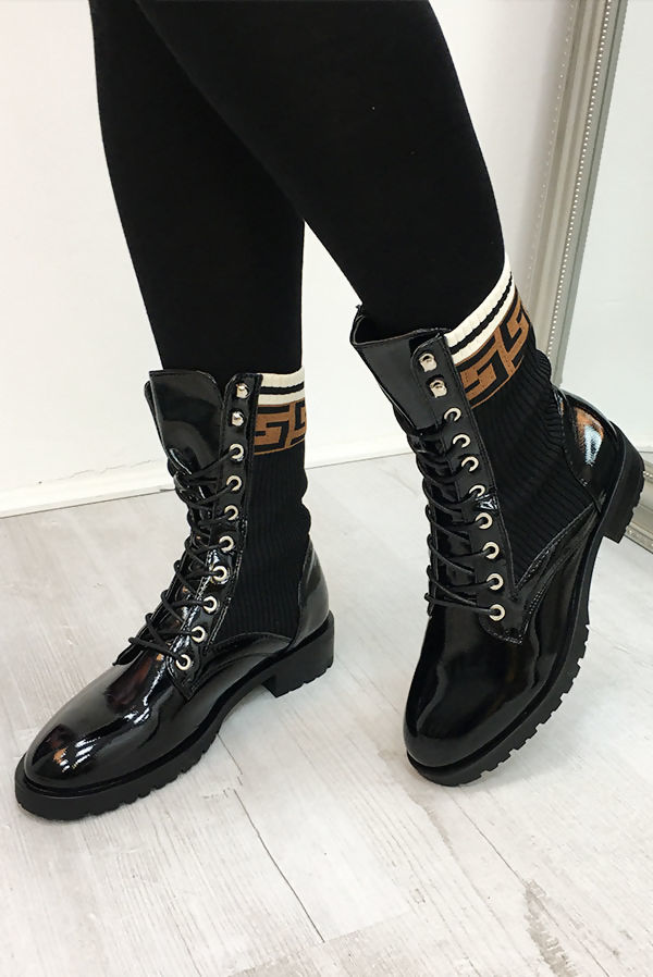 Brown Patent High Top Sock Boots