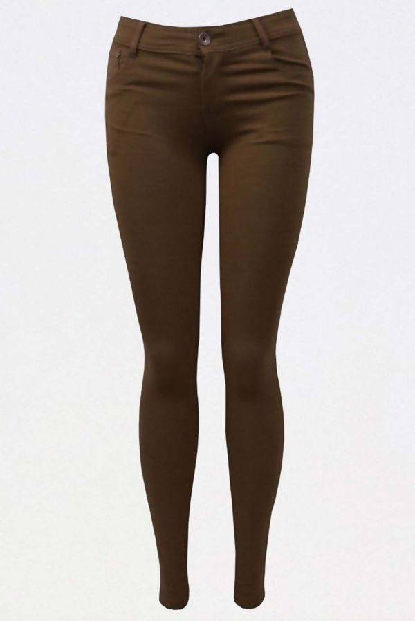 Brown Stretch Slim Fit Skinny Jegging