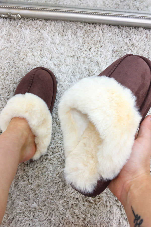 Brown Suede Mule Slippers