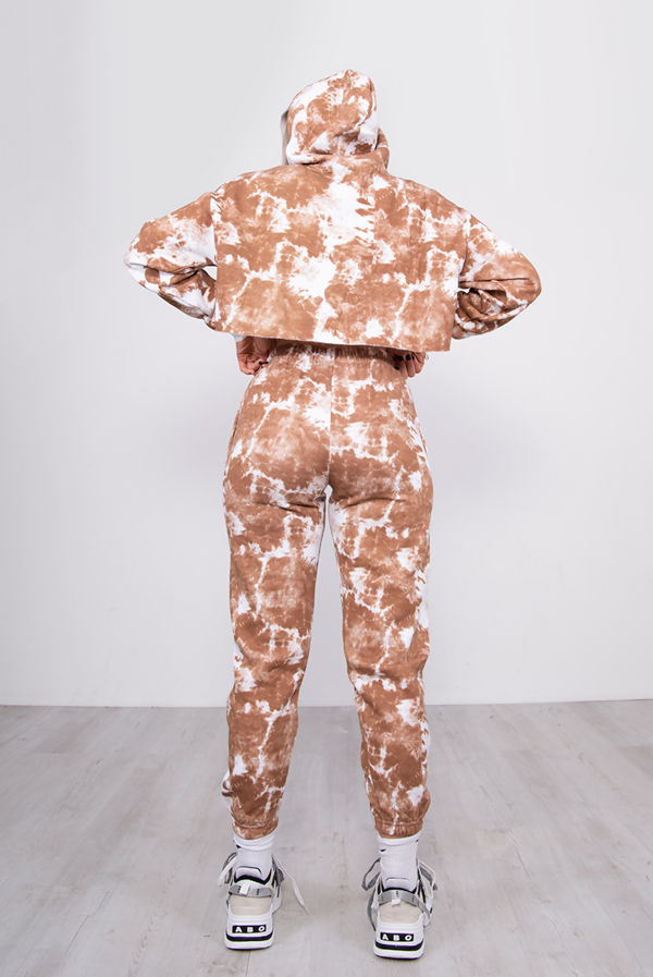 Brown Tie Dye Cropped Hoodie and Joggers Tracksuit Set