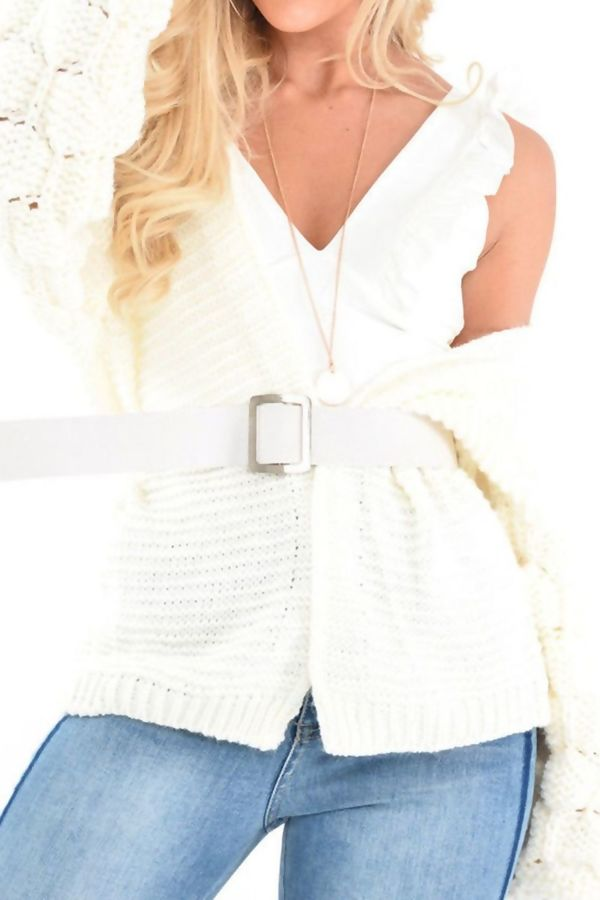 Cream Bubble Sleeve Cardigan