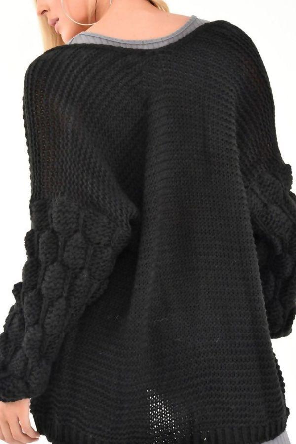 Black Bubble Sleeve Cardigan