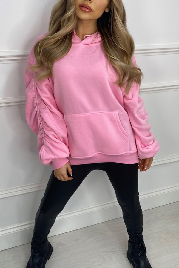 Bubblegum Pink Oversized Ruched Sleeve Hoodie