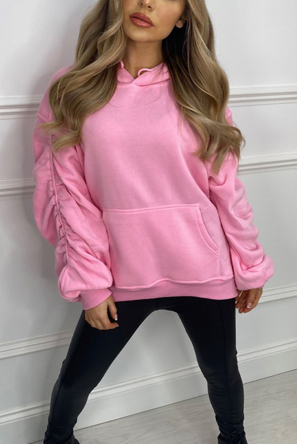 Airforce Oversized Ruched Sleeve Hoodie