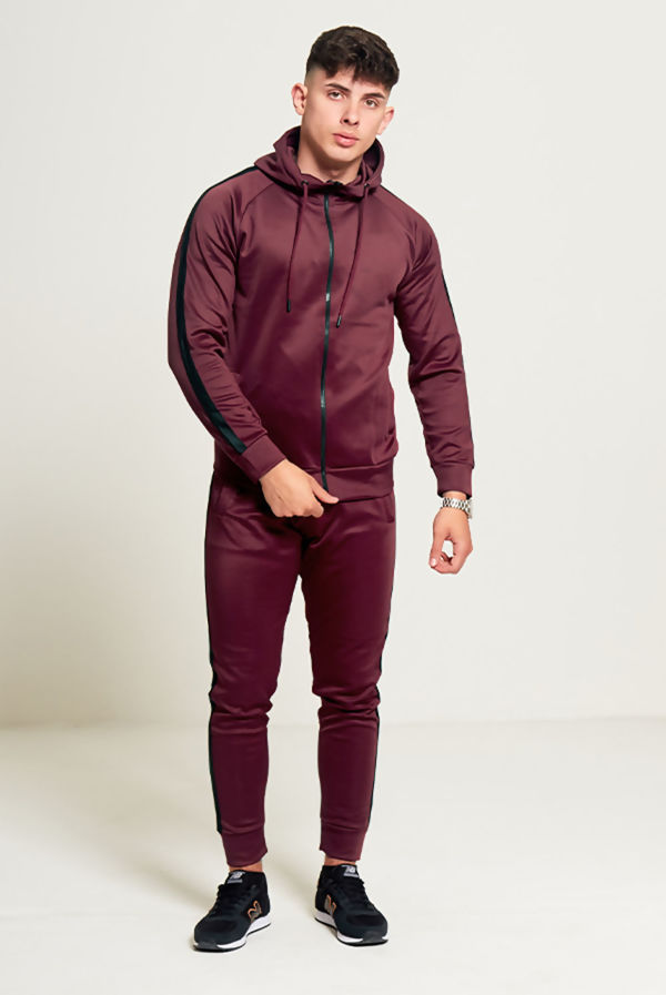 Burgundy Zip Through Hooded Tracksuit With Black Stripe Detailing
