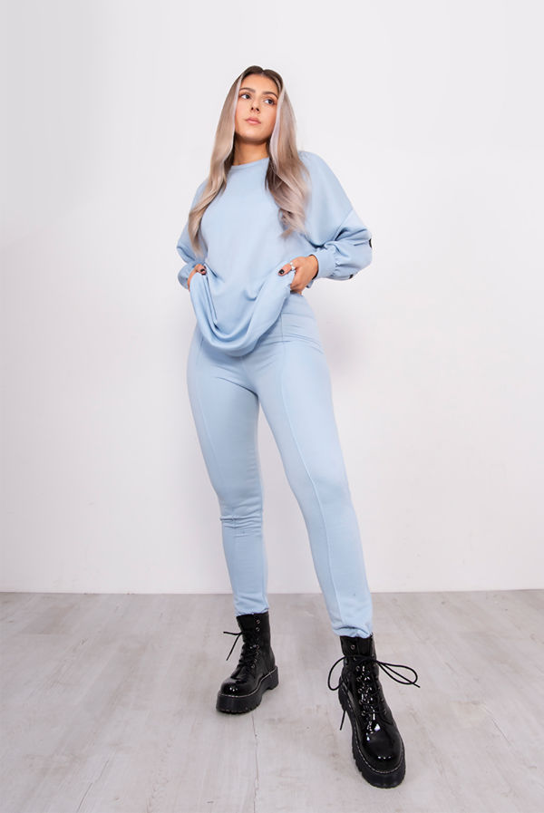 Baby Blue Buffalo New York Sweat Top And Jogger Set