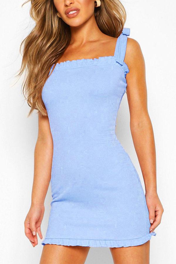 Baby Blue Frill Edge Tie Strap Mini Dress