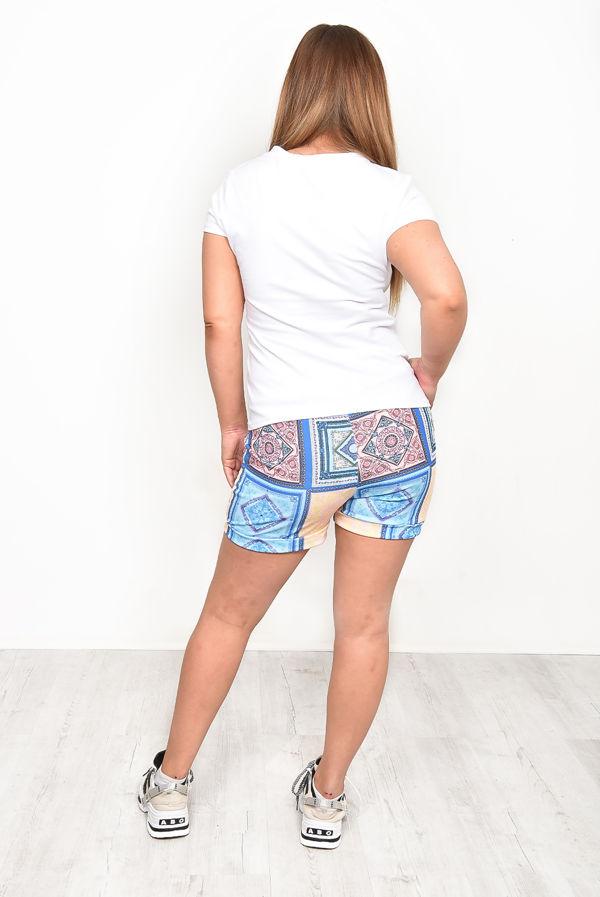 Baby Blue Geometric Print Shorts Co-ord