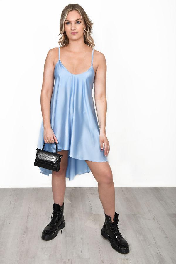 Baby Blue Satin Strappy Tie Back High Low Flowy Dress