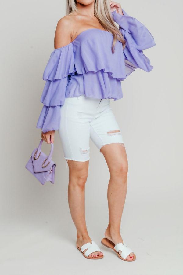 Linen Bardot Tiered Sleeve Crop Top