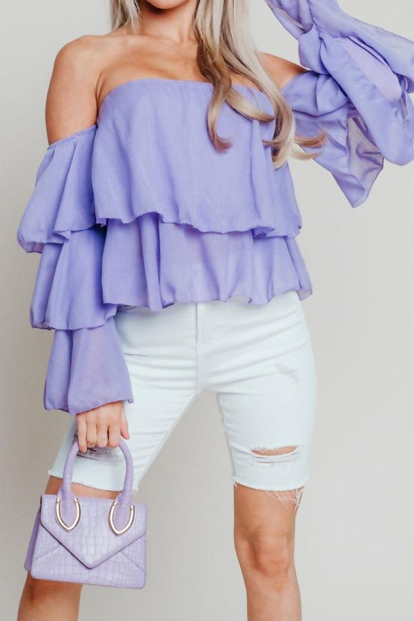 Lilac Linen Bardot Tiered Sleeve Crop Top