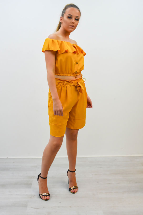 Bardot Top and Shorts Co-Ord Set